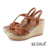 SCONA 蘇格南 真皮 時尚優雅交叉楔型涼鞋 棕色 31059-2