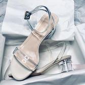 年終盛宴  2018新款透明涼鞋女夏粗跟露趾一字扣透明帶百搭水晶高跟鞋   初見居家
