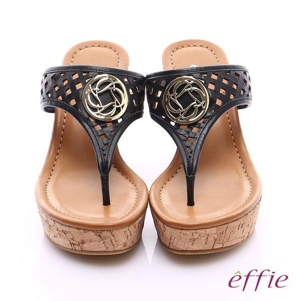 effie 摩登美型 真皮鏤空大釦飾Y字楔型拖鞋  黑