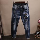 徽章刺繡褲子男牛仔褲型男修身小直筒時尚破洞磨破個性潮流繡花  降價兩天
