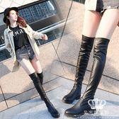 長靴 皮靴 圓頭粗跟防水臺騎士靴過膝彈力靴 艾米潮品館