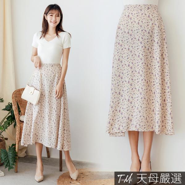 【天母嚴選】玫瑰印花雪紡長裙(共二色)