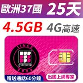 【TPHONE上網專家】歐洲 37國 25天無限上網 前面 4.5GB 支援高速 贈送通話60分鐘