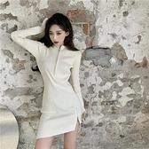 長袖洋裝 長袖針織連身裙女秋冬新款性感拉鏈開叉裙子修身打底包臀短裙-Ballet朵朵