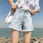 破洞牛仔短褲女夏高腰寬松chic韓版學生大碼毛邊直筒闊腿熱褲【韓衣舍】