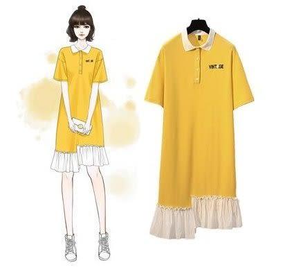 特賣款不退換POLO領襯衫領連身裙XL-4XL中大尺碼31939/特大碼胖mm夏裝短袖顯瘦很仙的連衣裙胖胖美