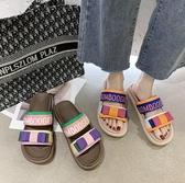 拖鞋女外穿新款夏季時尚百搭仙女風網紅舒適潮一字拖 - 歐美韓熱銷