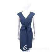 Max Mara-WEEKEND 蝴蝶結抓褶設計深藍V領洋裝 1820507-34