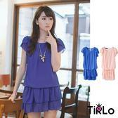 洋裝-Tirlo-多層次束腰雪紡洋裝-2色