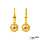 J'code真愛密碼 小太陽黃金/水晶耳環