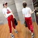 套裝21新款夏季時尚運動服哈倫褲休閒套裝女韓版寬鬆洋氣兩件套 快速出貨