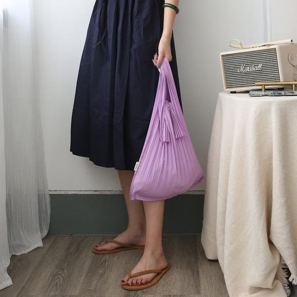 設計日系百搭褶皺單肩包百搭手提購物袋背心包0822