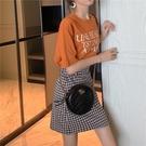 窄裙 黑白格子半身裙ins超火的a字短裙女高腰顯瘦包臀復古裙子2019新款 可卡衣櫃