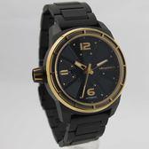 【萬年鐘錶】elegantsis  運動軍事風格戰鬥機系列 錶背鏤空 機械錶 黑x金  48mm  ELJF48A-8B03MA