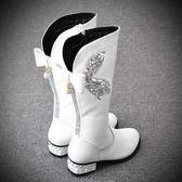 高筒靴 女童靴子高筒靴真皮兒童長靴女2018秋冬新款韓版公主馬丁靴中大童