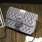 【星品時尚】女包 小包 絲絨 菱格 磁扣 鏈條包  珍珠裝飾 單肩包 CJ171220 【CJ預購】