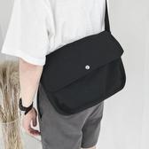 新品斜背包日常出行百搭款素色帆布簡約單肩斜背包男女書包肩帶可調節