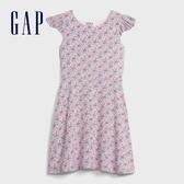 Gap女童活力花卉圓領短袖洋裝599910-粉白色