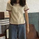 春季新款學院風簡約撞色針織短袖T恤女學生短款上衣 韓國時尚週