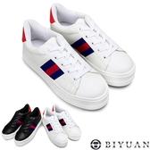 【OBIYUAN】手工鞋 增高厚底 英倫風 藍紅織帶 MIT休閒鞋 女鞋 共2色【Q1CQ54】