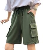 EASON SHOP(GW6311)實拍復古大口袋鬆緊腰抽繩綁帶收腰工裝褲休閒褲女高腰短褲熱褲五分褲直筒褲寬褲