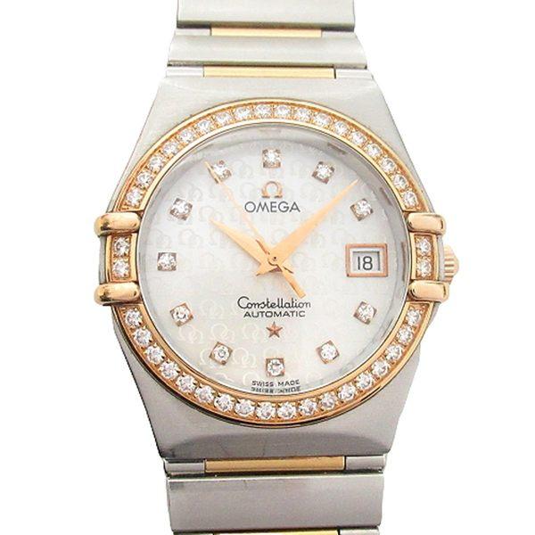 OMEGA 歐米茄 星座系列鑲鑽18K玫瑰金石英女錶 Constellation AUTOMATIC 95