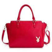PLAYBOY- 手提包可斜背 經典兔頭系列-亮紅色