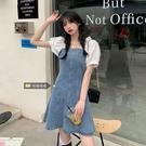 牛仔洋裝 大碼法式連身裙女夏季新款微胖妹妹顯瘦牛仔裙短袖設計感小眾裙子 寶貝 618狂歡