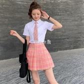紅格子半身裙紅色格裙百褶裙短裙高腰a字學生學院風jk制服裙正版