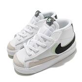 Nike 童鞋 Blazer Mid 77 SE PS 白 黑 綠 雙勾勾 小童 小朋友 魔鬼氈【ACS】 DD1849-100