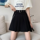 2021新款百褶裙女夏季黑色工裝裙高腰顯瘦半身裙bm風裙子A字短裙  【端午節特惠】