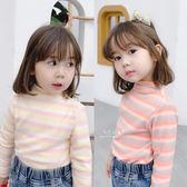 彩虹亮色條紋加絨高領上衣 童裝 長袖上衣