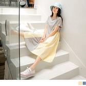 《DA8837-》高含棉圓領配色拼接腰抽皺傘襬長洋裝 OB嚴選