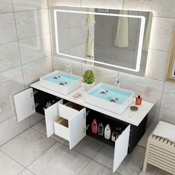 雙盆浴室柜組合現代簡約衛浴柜衛生間洗漱臺洗手盆洗臉盆柜臺盆柜 潮流衣舍