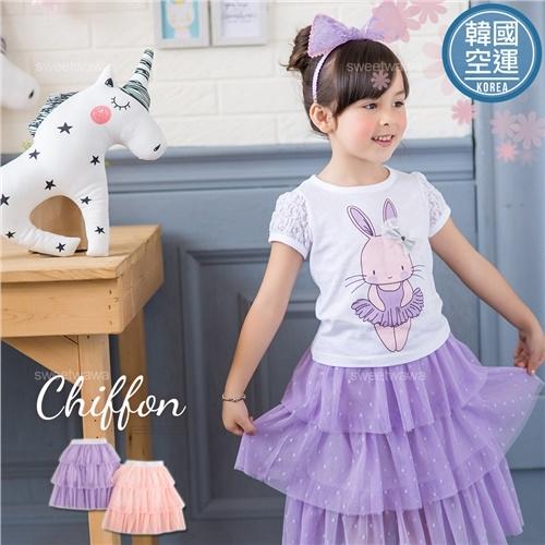 韓國童裝~水玉點點六層雪紡長紗裙夢幻蛋糕裙(250665)★水娃娃時尚童裝★