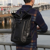 真皮後背包-黑色休閒牛皮大容量男女雙肩包73xy22【巴黎精品】