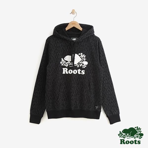 男裝ROOTS 反光滿版印花毛圈布連帽上衣-黑色