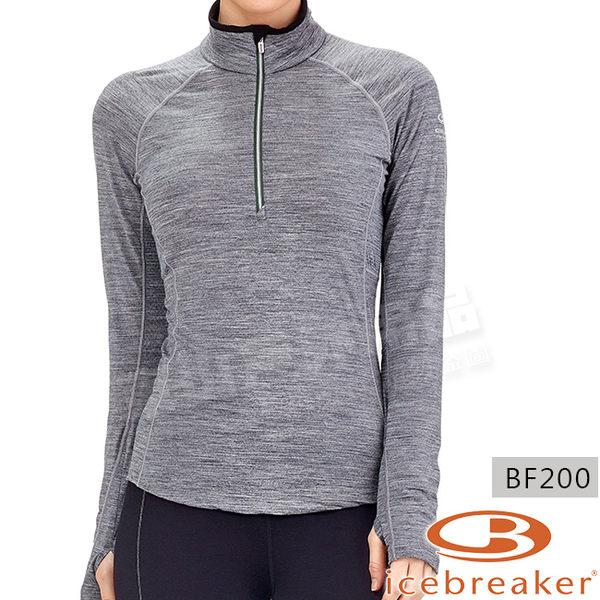 Icebreaker 102571-002灰 女羊毛網眼透氣半開襟上衣BodyfitZONE 美麗諾底層衣/排汗機能服