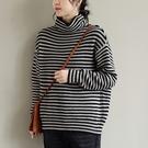 純棉條紋高領針織打底衫 寬鬆保暖套頭長袖毛衣/3色-夢想家-0115