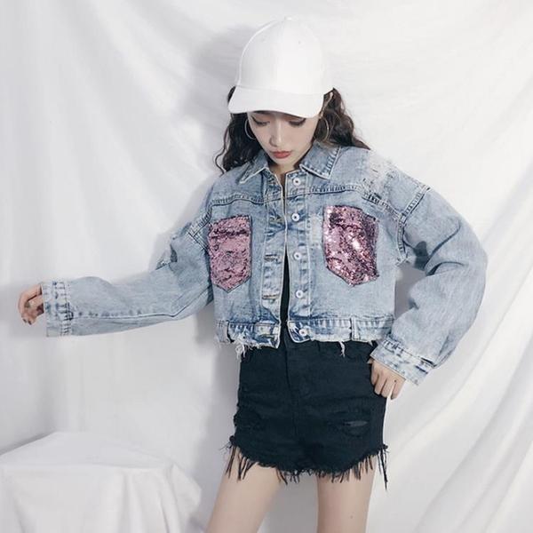 外套女春秋韓版學生長袖bf原宿寬鬆顯瘦口袋亮片破洞牛仔短款上衣