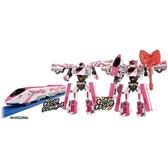 小禮堂 Hello Kitty 新幹線 變形機器人 鋼彈機器人 模型 公仔 玩具 (粉白) 4904810-15295