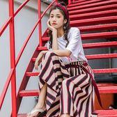 闊拖寬褲條紋寬鬆韓版新款高腰休閒褲裙七分闊腿褲   SQ7307『寶貝兒童裝』