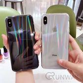 流光溢彩 鐳射全透明 鋼化玻璃背板 蘋果 手機殼 iPhone 8 plus Xs Max XR 全包邊軟殼 保護套