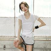 短褲健身服女潮瑜伽服新款夏季運動套裝白色健身房跑步速幹衣 晴天時尚館