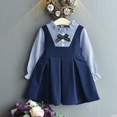 女童長袖洋裝 假兩件連身裙 學院風公主裙   寶寶童裝 MS002 好娃娃