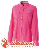 【Wildland 荒野 女款 彈性格子布長襯衫《桃紅》】0A51205/春夏款/襯衫/長袖襯衫★滿額送
