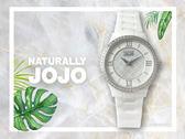 【時間道】NATURALLY JOJO  典雅時尚經典LOGO壓紋陶瓷腕錶 / 白面珠框白陶(JO96880-81F)免運費