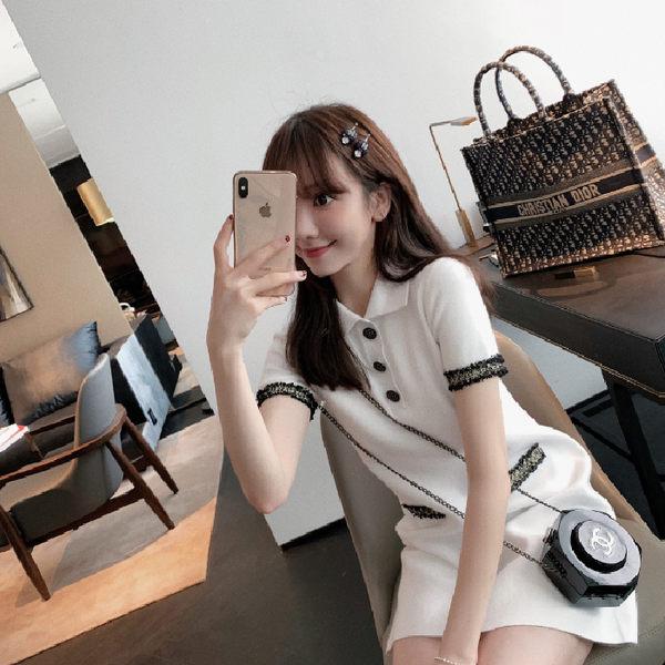 VK旗艦店 韓國風名媛氣質流蘇POLO領針織短袖洋裝