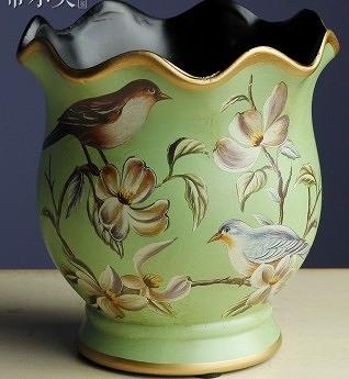 【協貿國際】田園手繪木蘭對鳥波浪口陶瓷花瓶