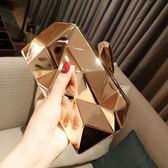 2018新款女包包晚宴金屬手拿包潮斜挎鏈條小方包宴會包  lh1143【3C環球數位館】